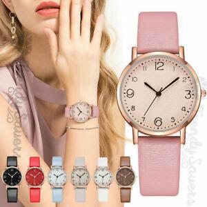 Women's Leather Black Thin Analog Quartz Fashion Luxury Wristwatches White Watch