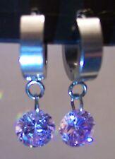 Stainless Steel Circle Drop Lavender CZ Dangle  Hoop Huggie Earrings