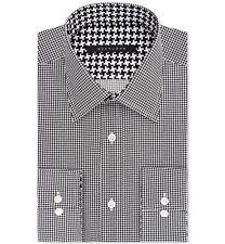 $95 SEAN JOHN Men TAILORED-FIT WHITE BLACK CHECK BUTTON DRESS SHIRT 18 36/37 XXL