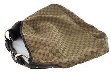 Gucci Monog Horsebit Hobo Shoulder Handbag Brown Canvas XL Gold Toned Hardwares