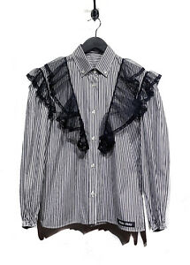 Miu Miu Black & White Striped Western Shirt with Lace Details