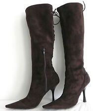 BCBGirls Knee High Boots, Dark brown Tone, Size 8 B, Zippered and Lace ups