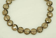 """18mm Smoky Quartz Faceted Coin Shape Beads approx. 22pcs, 15.5"""" long"""