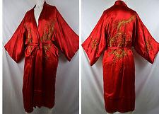 Vintage 1920s Red Silk Dragon Robe Gold Thread Embroider Bullion Japanese Chinse