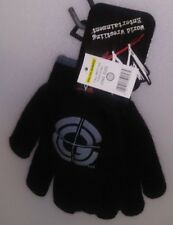 WORLD WRESTLING 1 PAIR KIDS KNIT GLOVES 1 SIZE BLACK WITH GREY & LOGO A-16