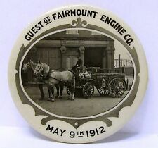 1912 FAIRMOUNT ENGINE CO. Horse Drawn Fire Equipment photo pocket mirror *