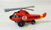 RARE Friction Vintage Tin Toy ✱ RESCUE HELICOPTER ✱ Lithographed JAPAN 70´s
