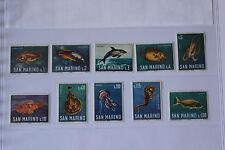 SAN MARINO 1966 serie completa 10 francobolli TEMATICA : PESCI codice UNI 721/30