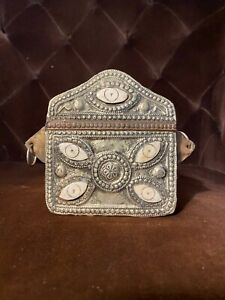 OLD MOROCCAN  BRASS AND SILVER KORAN QURAN CORAN BOX CASE Bone Inlaid