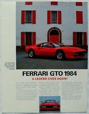1984 Ferrari 288 GTO Introduction Brochure Spec Sheet Swiss (CH) Market *RARE*