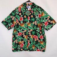 RJC Vtg Mens Sz XL Hawaiian Camp Shirt Bright Aloha Hibiscus Floral Pineapple