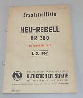 Catálogo de Piezas / Lista de Repuestos Niemeyer Heu-Rebell Hr 280 Soporte 1967