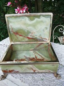 Vintage Mid Century Italian Green Onyx & Brass Box Lion Paw Feet