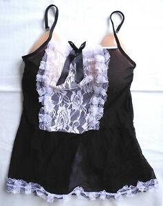 💗  Sexy Hemdchen  Schwarz / Spitzen  💗  Größe S  💗