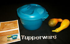 Tupperware easy Microwave Rice Maker Steamer cooks rice faster!  9c PEACOCK AQUA