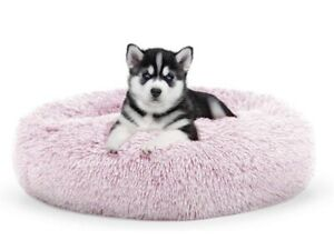 Washable Pet Cat Dog Calming Bed Soft Plush Round Nest Comfy Sleeping Pad Cave