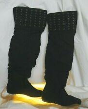 Liliana Women's US 7 Euro 38 Black Faux Suede Knee High Studded Flat Heel Boots