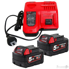 GENUINE MILWAUKEE M12-18FC FAST BATTERY CHARGER NEXT GEN+(2) M18B5 5.0AH BATTERY