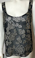 Abercrombie Fitch Womens Small Tank Cami Top Navy Sheer Silver Sequin Flowers