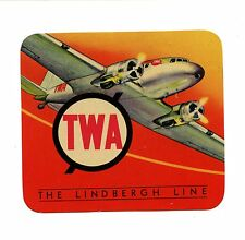 Vintag Airline Luggage Label TWA THE LINDBERGH LINE  airplane prop