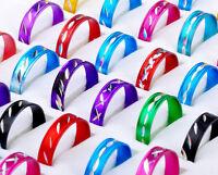 100pcs Wholesale Jewelry lots Mix Colored Aluminum Rings Fashion Rings Free Ship