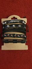 6 leather bracelets. Adjustable and unused.