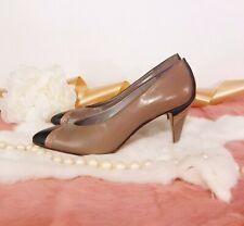 Vintage 1980's Italy Heels Shoes Leather Snakeskin Accents Avant Garde Pumps 7.5
