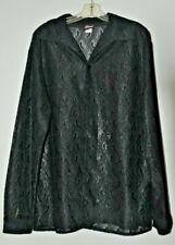 Elee Men's Long Sleeve Sheer Black Size XXL Latin Ballroom Shirt