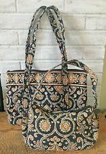 Vera Bradley CAFFE LATTE Mandy Shoulder Bag Purse Black Brown & Sm Hobo Bag Lot2