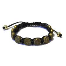 "St. Benedict Bronze Medal Nylon Cord Bracelet 8"" Length Adjustable"