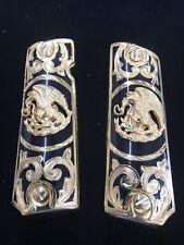 1911 Aguila Gold Plated German Silver Grips 45/38 super Colt Escudo. Nacional