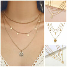 Multilayer Gold Chain Choker Necklace Women Round Sequin Pendant Jewelry Chain
