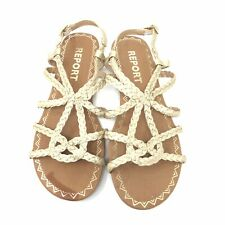 Report Sandals Size 7 Womens Gold Gina Strappy Shoes Braided Slingback Casual
