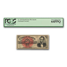 New listing 4th Issue Frac Currency 50 Cent Lincoln Cu-64 Ppq Pcgs (Fr#1374) - Sku#171768
