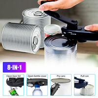 8 in 1 Manual Tin Can Opener Safe Cut Lid Smooth Edge Side Stainless Steel Tools