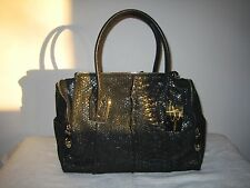 B. MAKOWSKY ~ WHITNEY ~ Shimmer Snakeskin Embossed Leather Black Satchel ~ NEW