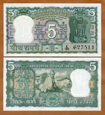 India,  5 Rupees, ND (1969), P-68, UNC > W/H, Commemorative, Gandhi Centennial