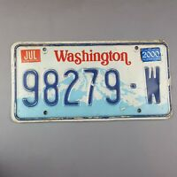 Washington State 1990 to 1998 Vintage License Plate 98279-W Tab 2000 Boarder