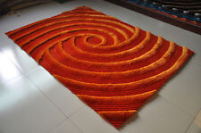 Orange 3D Circle design 5x7 two Tone Shag Hand Carved Area Rug