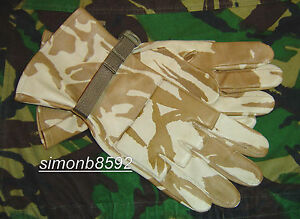 British Army Surplus Issue Desert DPM Camo Leather Gloves, Hot Weather Combat