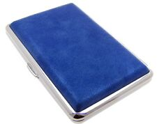 Cigarette Case -- Mysmokingshop Blue Marble Leather Chrome King Size -- NEW ksc1