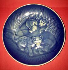 Copenhagen Blue Porcelain Plate, Mothers Day 1982, Lion/Cubs Excellent Condition
