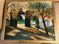 "Large R DeBello 02 ""Park Landscape Scene"" Oil Painting - Signed And Framed"