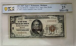FR1803-1 / Kalamazoo Michigan (MI) Charter 191 / 1929 $50 Type 1 Note / PCGS 25