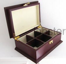 TEA LOVER WOOD WOODEN CHEST CADDY 6 SECTION Rosewood or Jewelry Watch Box SALE