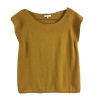 Madewell Women's Gold Yellow Short Sleeve Ribbed Top Large