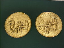 Pair of Round Metal Wall Plaques - Made In England