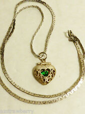 Sterling silver 925 necklace emerald green CZ heart locket pendant May birthston