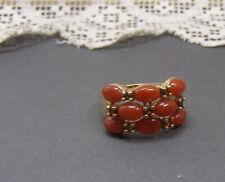 14K Yellow Gold Triple Row Orange Red Jade Garnet Band Ring 6.75