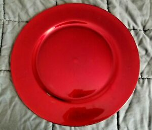 """Shiny Red/Crimson Round Plastic Decorative Charger Plate Platter Dimpled 13"""""""